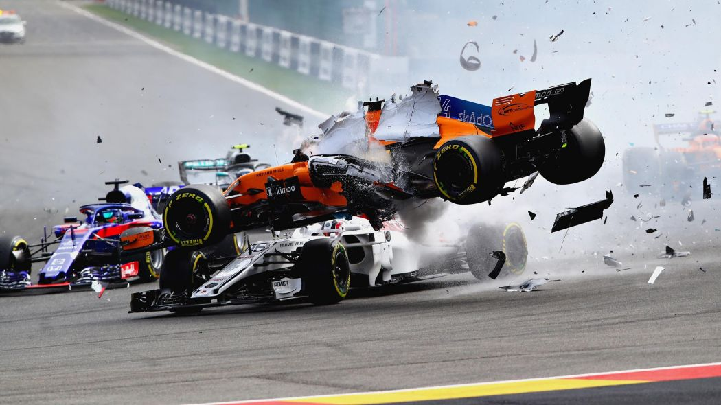 Halo proved its worth as Fernando Alonso crashed out of the Belgian Grand Prixwith his McLaren flying over the top of Charles Leclerc's Sauber. (Image: Eurosport.com)