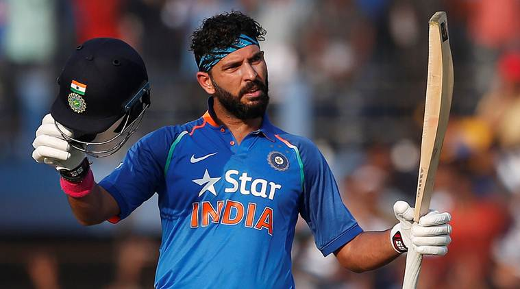 Yuvraj Singh celebrates after scoring a century.