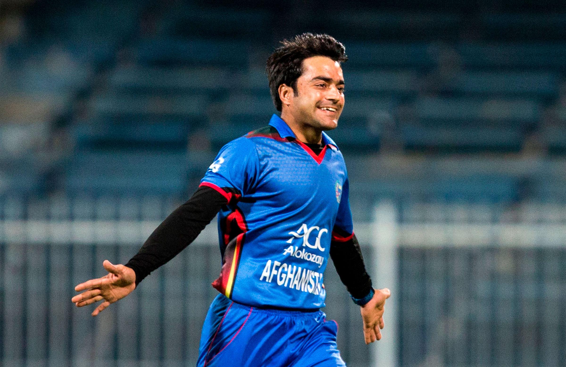 Rashid Khan celebrates a wicket for Afghanistan. (Image: cricket.com.au)