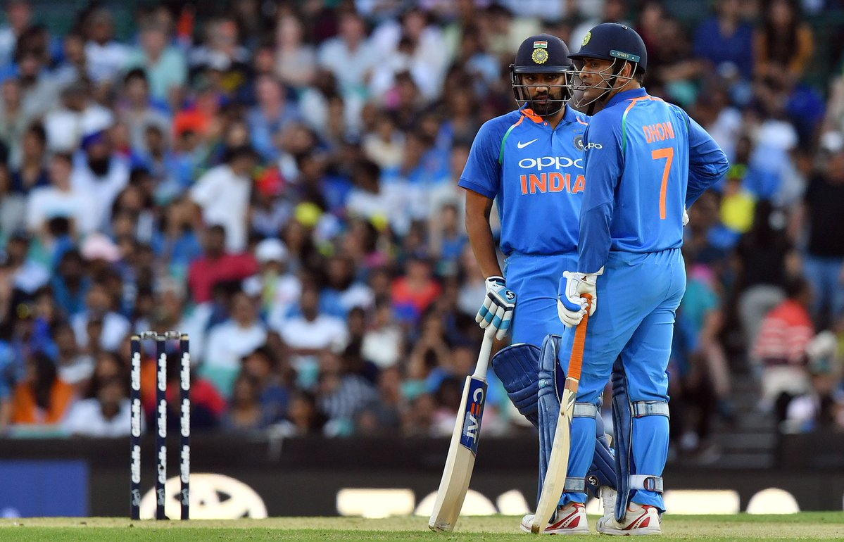 MS Dhoni and Rohit Sharma during the first ODI in Sydney against Australia. (Image: Twitter @ICC)