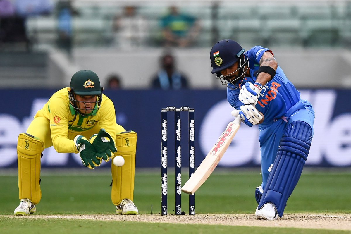 Virat Kohli plays a shot against Australia in the recently concluded ODI series. (Image: Twitter @BCCI)