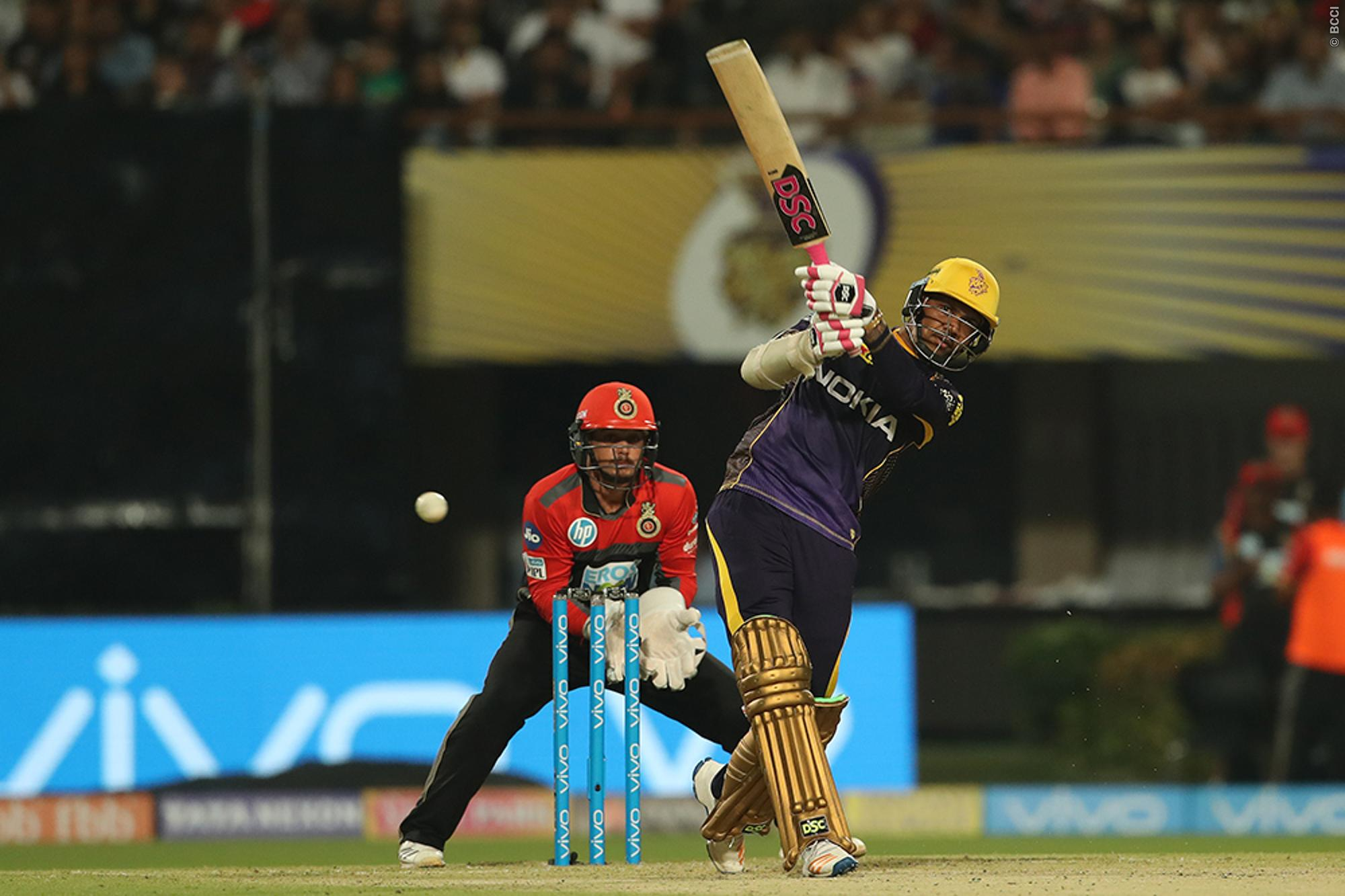 Sunil Narine plays a shot in IPL 11. (Image: BCCI)