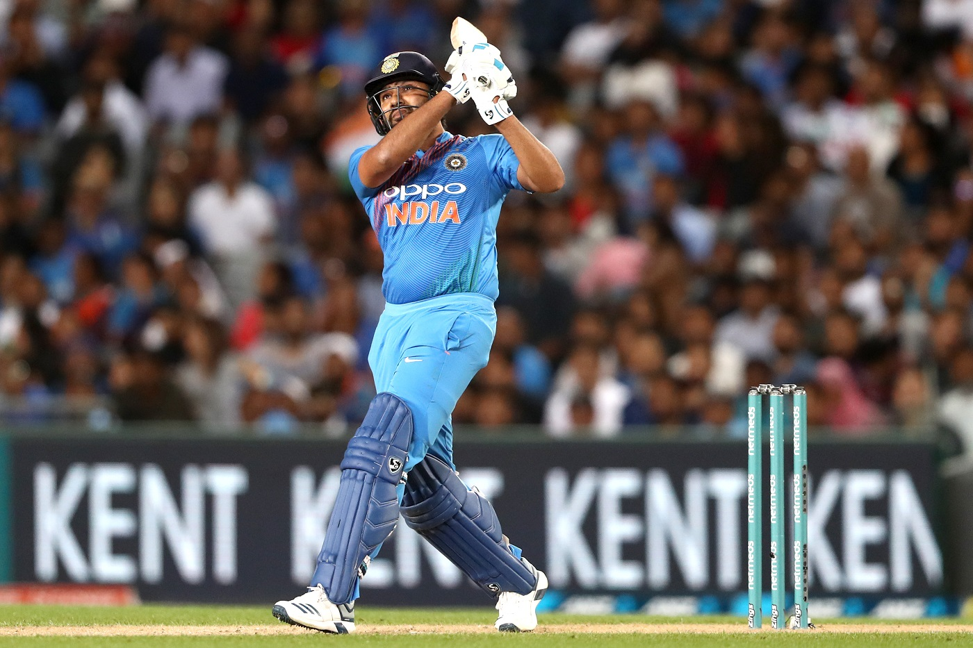 AUCKLAND, NEW ZEALAND - FEBRUARY 08: Rohit Sharma of India bats during game two of the International T20 Series between the New Zealand Black Caps and India at Eden Park on February 08, 2019 in Auckland, New Zealand. (Photo by Hannah Peters/Getty Images)