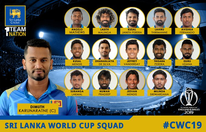 Sri Lanka squad for world cup 2019