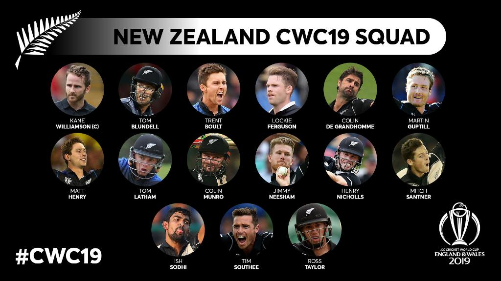 ICC Cricket World Cup 2019 New Zealand Squad