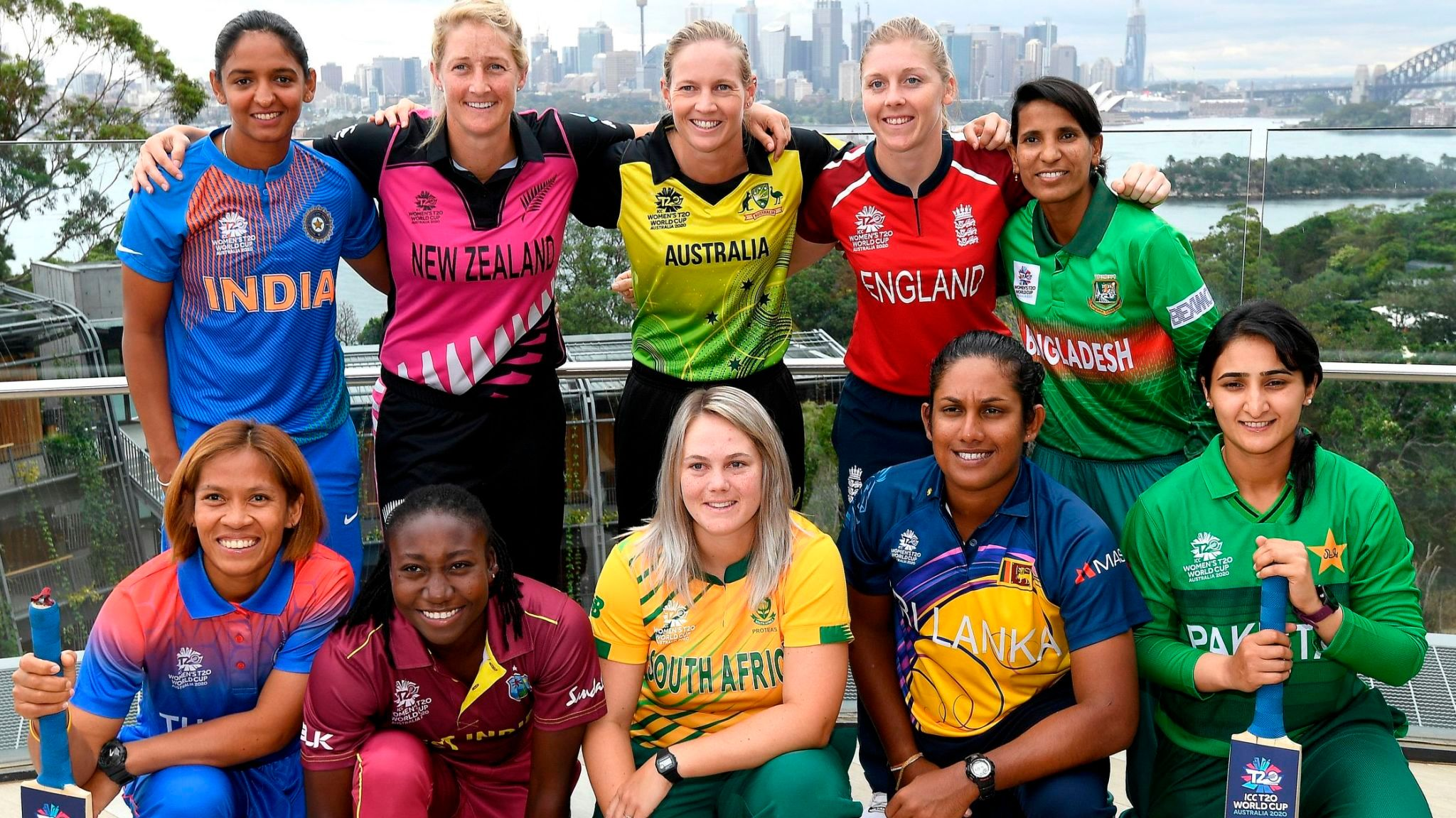 The captains pose for the T20 World Cup | Image Credits: Sky Sports