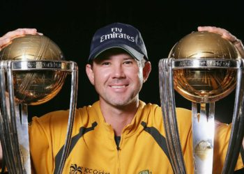 Ricky Ponting with two World Cup trophies. (Image Credits: ICC Cricket)