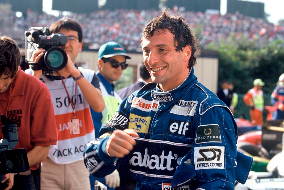 Riccardo Patrese after the end of a successful F1 race
