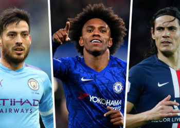David Silva (L), Willian (Center) and Cavani (R) lead the pool of free agents (Source: goal.com)