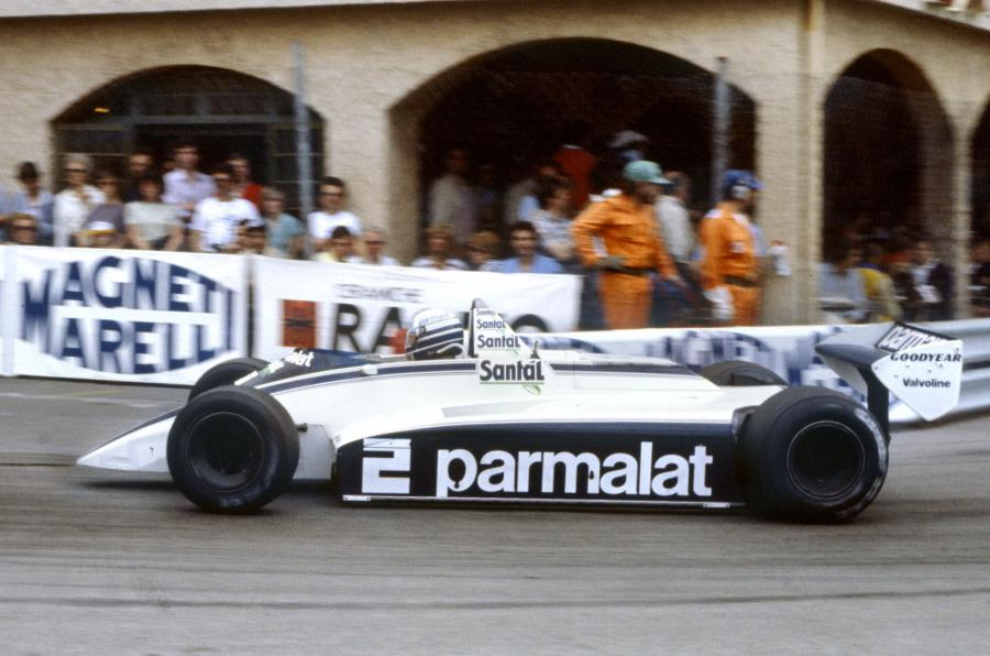 Riccardo Patrese driving home his Brabham Ford to finish Rank 1 for the first time in 1982 Monaco GP