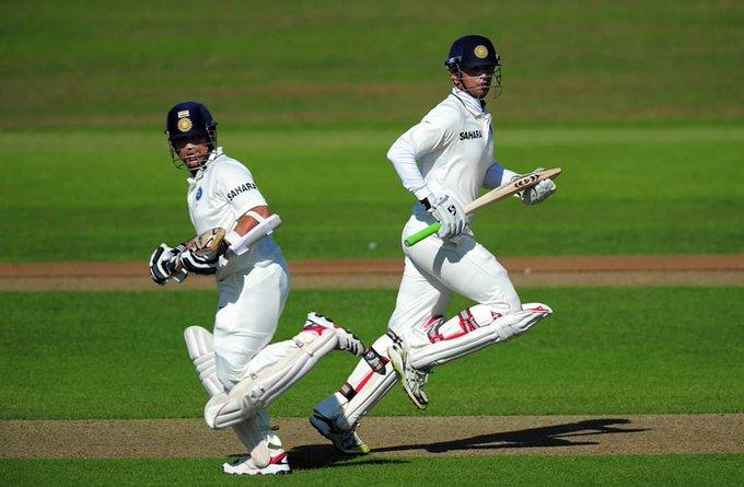 Sachin Tendulkar and Rahul Dravid during a test match. (Credits: Twitter)
