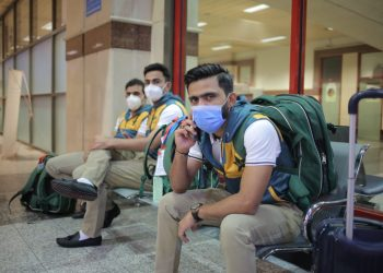 Pakistan cricket team while leaving for New Zealand tour